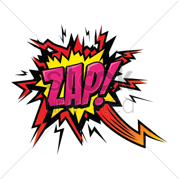 zap text with comic effect vector graphic