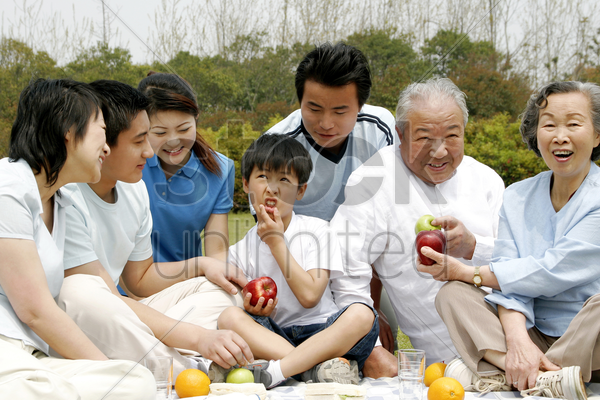 a big family picnicking in the park stock photo