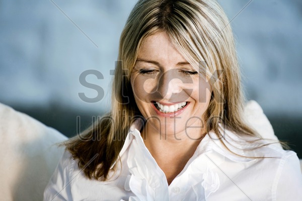 a business lady smiling stock photo