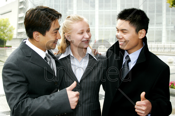 a group of business people happy with their achievements stock photo