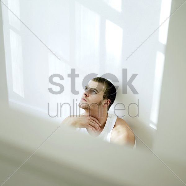 a man contemplating stock photo