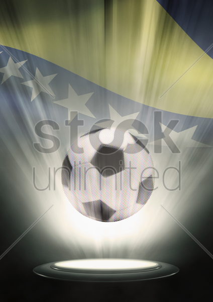 a soccer ball with bosnia and herzegovina flag backdrop stock photo