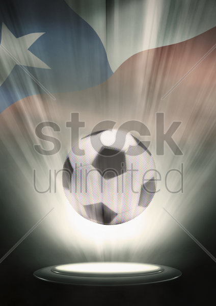 a soccer ball with chile flag backdrop stock photo