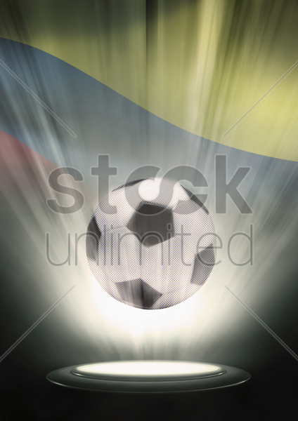 a soccer ball with colombia flag backdrop stock photo