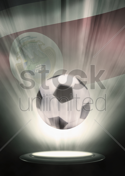 a soccer ball with costa rica flag backdrop stock photo
