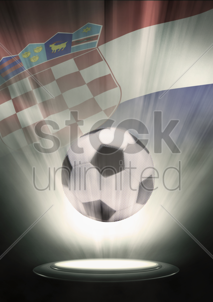 a soccer ball with croatia flag backdrop stock photo