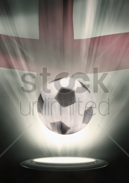 a soccer ball with england flag backdrop stock photo