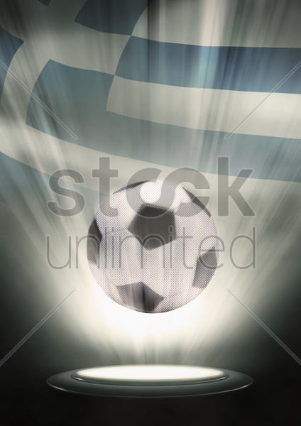 a soccer ball with greece flag backdrop stock photo