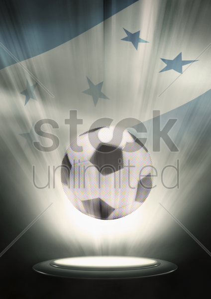 a soccer ball with honduras flag backdrop stock photo
