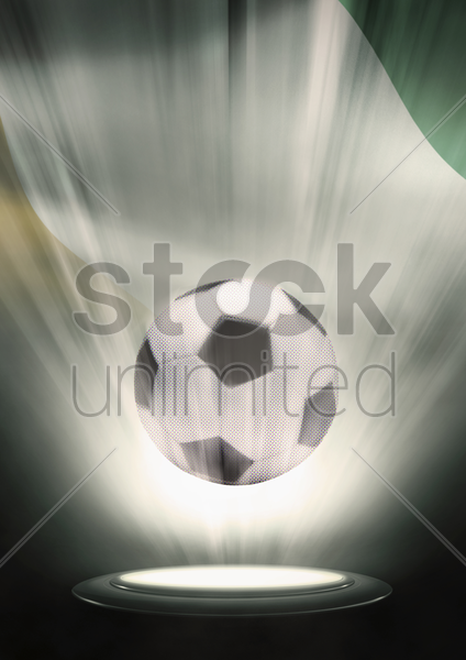 a soccer ball with ivory coast flag backdrop stock photo