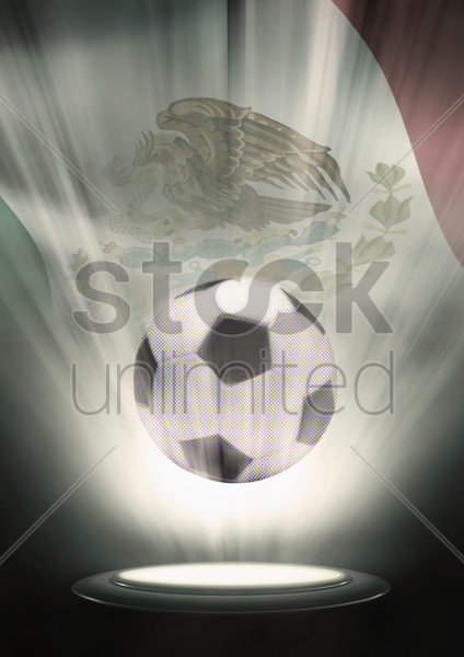a soccer ball with mexico flag backdrop stock photo