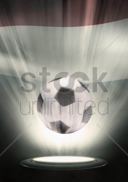 a soccer ball with netherlands flag backdrop stock photo