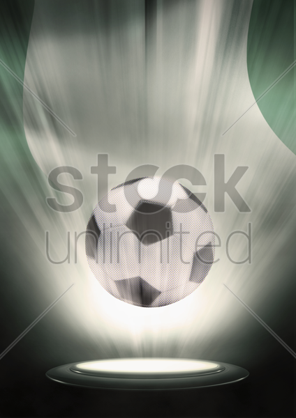 a soccer ball with nigeria flag backdrop stock photo