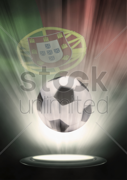 a soccer ball with portugal flag backdrop stock photo