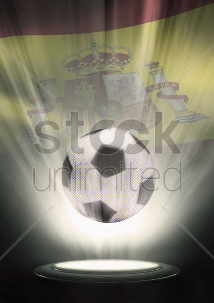 a soccer ball with spain flag backdrop stock photo