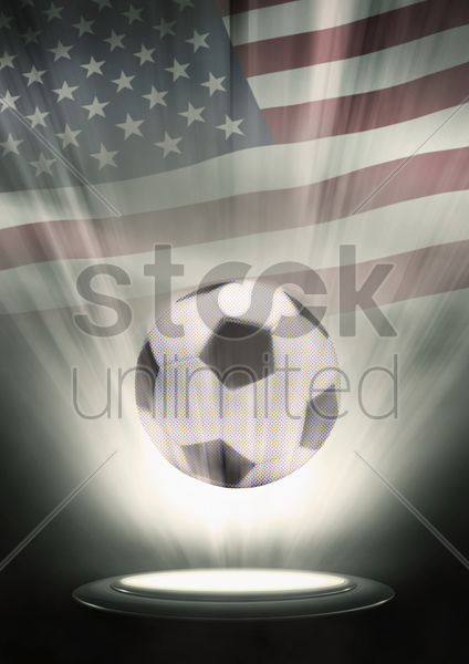 a soccer ball with usa flag backdrop stock photo