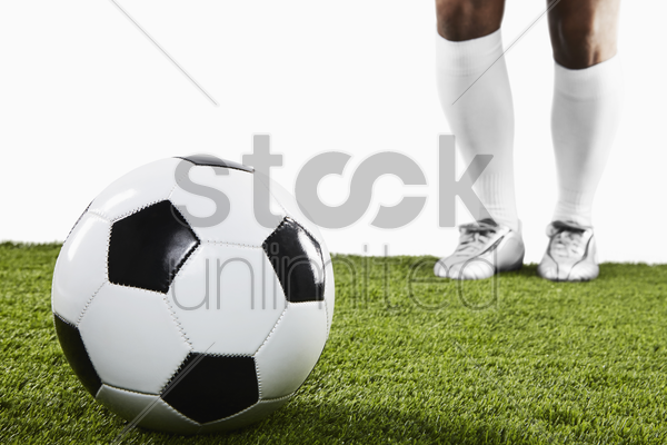 a soccer player ready for freekick stock photo