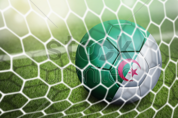 algeria soccer ball in goal net stock photo