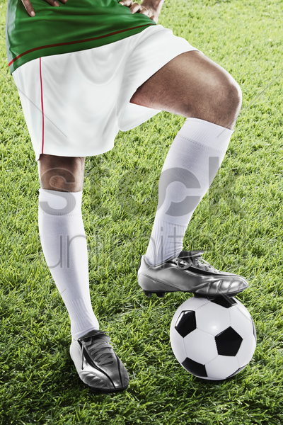 algeria soccer player ready for kick off stock photo
