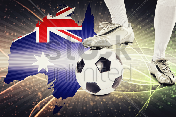australia soccer player ready for kick off stock photo