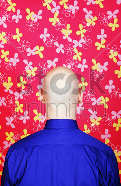 back shot of a bald businessman stock photo