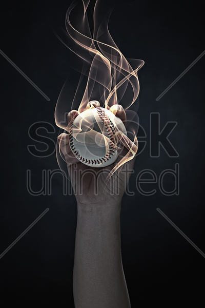 baseball caught by human hands stock photo