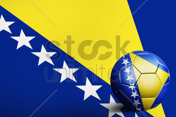 bosnia and herzegovina flag with soccer ball stock photo