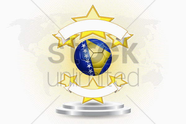 bosnia and herzegovina soccer ball emblem stock photo