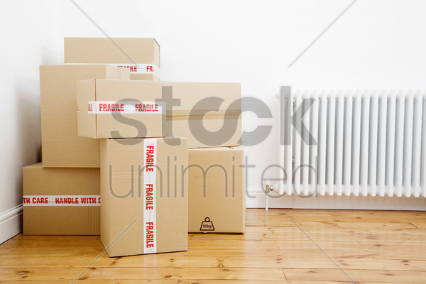 boxes piling at a corner stock photo