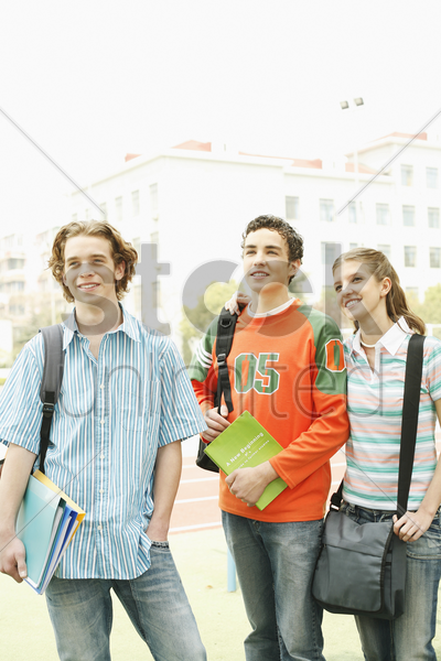 boys and girl hanging out together after class stock photo