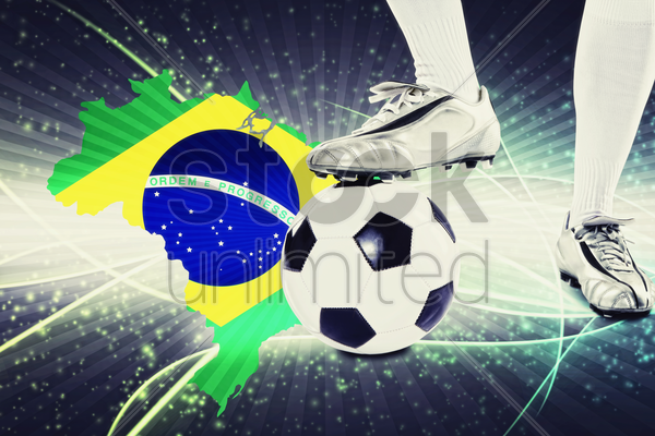 brazil soccer player ready for kick off stock photo