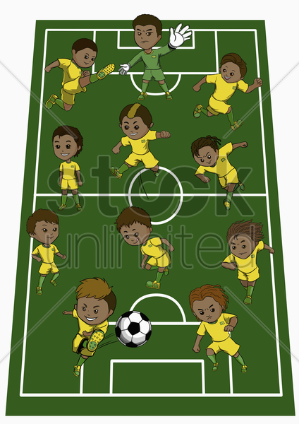brazil team formation stock photo