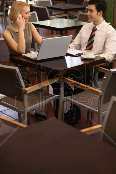 business people at the cafe, businesswoman on the phone stock photo