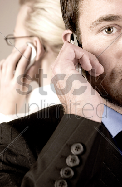 business people talking on the phone stock photo