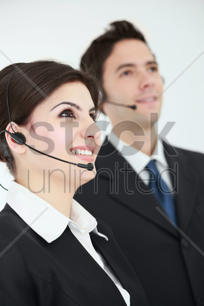business people with telephone headset stock photo