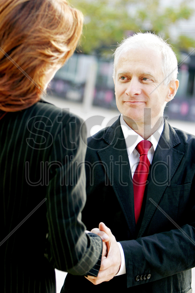businessman and businesswoman shaking hands stock photo