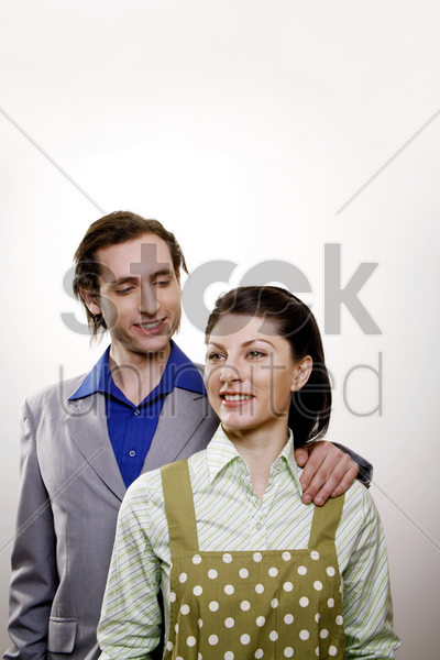 businessman and his housewife stock photo