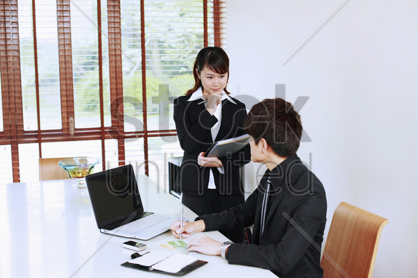 businessman and his secretary stock photo