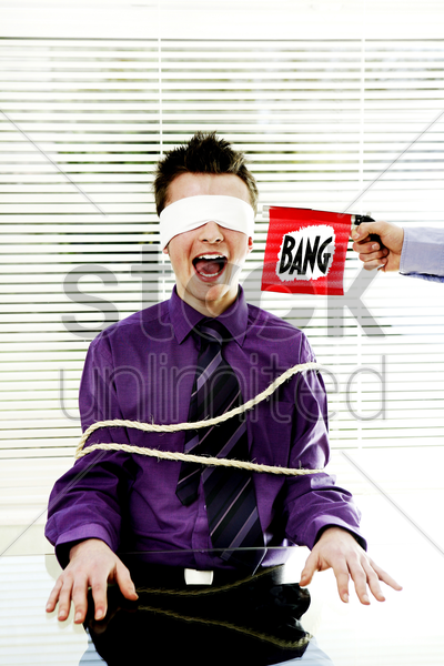 businessman being kidnapped stock photo