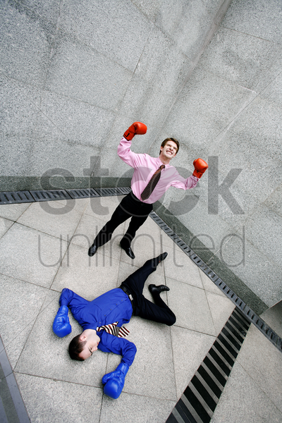businessman celebrating his success stock photo