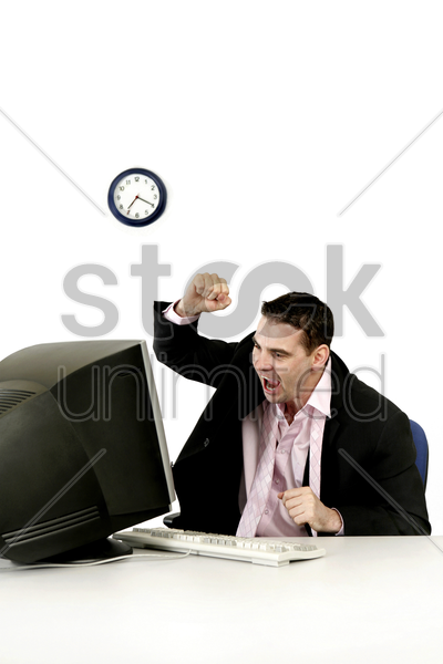 businessman getting frustrated with his work stock photo