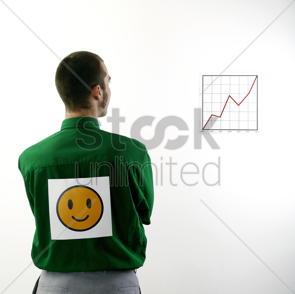 businessman happy with the progress stock photo