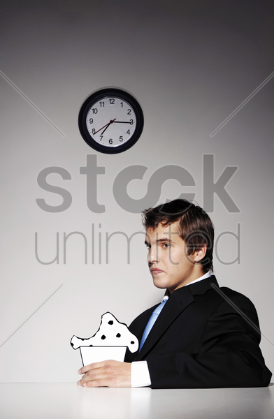 businessman having his breakfast stock photo
