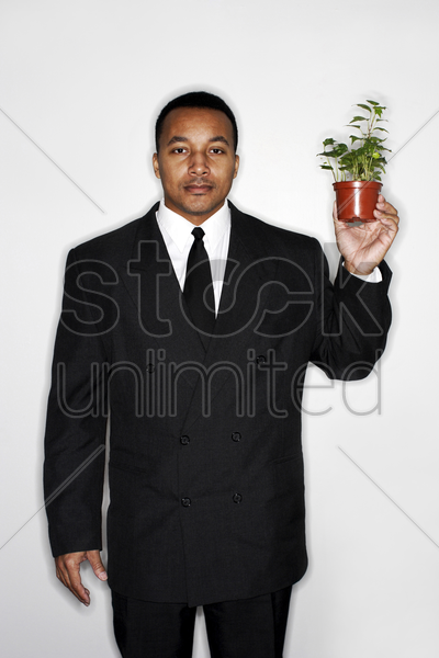 businessman holding a pot of plants stock photo