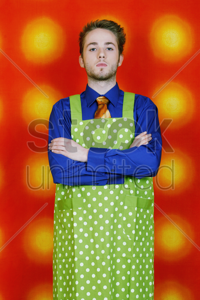 businessman in apron stock photo