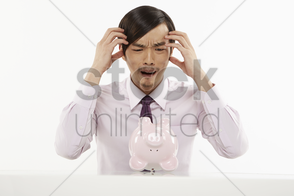 businessman in shock stock photo