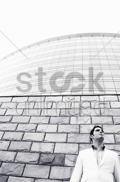 businessman looking up stock photo