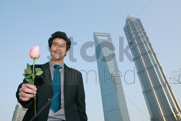 businessman offering a rose stock photo