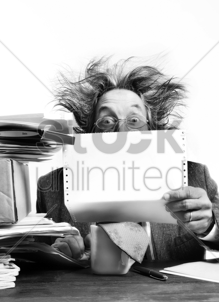 businessman reading report stock photo