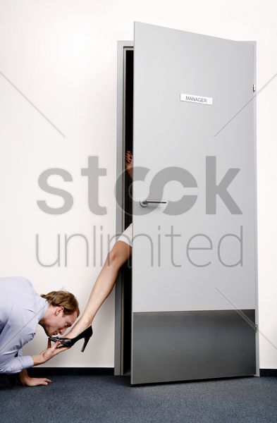 businessman treating his manager with full manners stock photo
